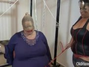 Fat granny with huge tits gets abused