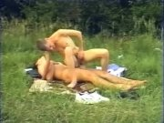 Blond twink rides cock at the field