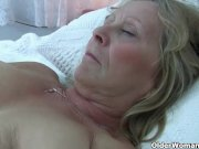 Granny with huge tits masturbates