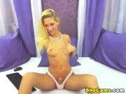 Blonde Shemale Masturbates her Big Cock