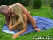 Amateur teen GF fucked hard outdoor