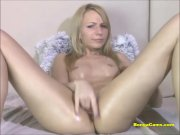 Intense masturbation from a pretty blond
