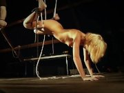 The painful sexual red marks of slave bondage punishment