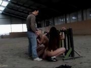 The bondage stable slaves are brutally fucked