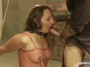 Pink Clad Submissive Dangles While Disciplined And Gets Throat Fucked