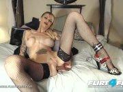 Flirt4Free - Alex Vonde - Kinky Tatted Cougar Sucks and Fucks a Big Dildo