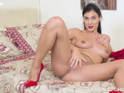 Racy brunette Roxy Mendez masturbates in sheer pantyhose fuck me red heels