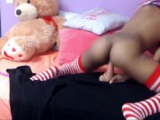 18-young ebony sexy with cute tits abuses her pusy with wall dildo