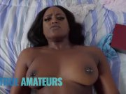 Phat ass Ebony babe makes sextape with her white bf and gets cum on her ass