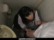 Japanese schoolgirl, Sayaka Aishiro gives great handjobs to friends, uncens