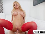 Fit Model Alix takes on a big throbbing cock