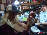 Shyla Stylez gets tattooed while playing with her tits