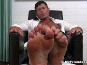 Mature businessman shows off his yummy feet solo