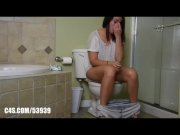 Beautiful Brune poops and replaces her blue thong after