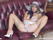 Busty blonde Michelle Moist hot masturbation in gloves garters nylons heels