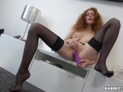 Solo ginger darling, Foxy Lee is masturbating, in 4K