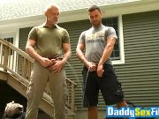 Sloppy blowjobs after peeing time with muscular mature guys