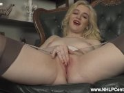 Retro blonde babe Lana Harding wanks off in vintage stockings and garters