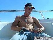 Young jock Matt H masturbates his huge dick outdoor and cums