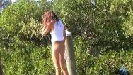 Teen land naked Sara naked on the landing stage