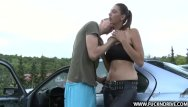 On top shemale - Fucked hard on top of car and loves it