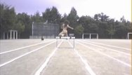 Track field vintage - Asian amateur in nude track and field