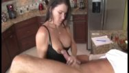 Over 40 big boob kitchen tube Jerking the old man in the kitchen