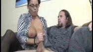 Jelking dick Busty milf enjoys jerking a dick