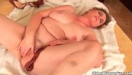 Sucking a womans breast Grandma with large breasts and unshaven pussy