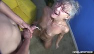 Cum splattered housewife - Horny granny gets splattered