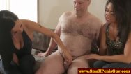Tiny tits threesomes - Dom babes pulling his his tiny cock