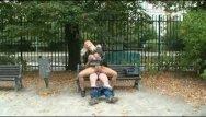 Video sex on bench Nymph rides boner on park bench