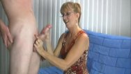 Handjob cum by granny Granny loves this big cock