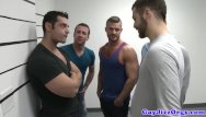 Ten gay men Gaysex orgy hunks blow during mugshot