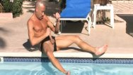 Gay penis pumpers Brodie beats off penis around the pool