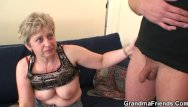 Grandma fucked by a black - Grandma in black stockings sucks and rides