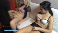 Two on one handjobs Two teens sharing one cock for bj and sex