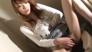 Cli sperm bank Asian brunette on the toilet wanks on her cli