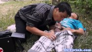 Gays aids Asian doctor blows twink outdoor as first aid