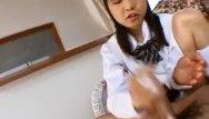 Fine asian teens Anna gets cum on hands from fine handjob