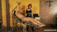 Electro wand in pussy Dominatrix uses her electro wand on her slave