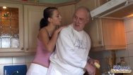 Oldman with young blowjob Brunette licks oldman all over and fucks him
