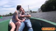 Teen boat threesome video Magma film picnic on a rowing boat