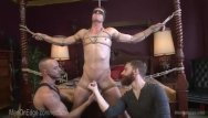 Gay face sex Bound hunk cums on his own face