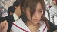 Japanese teen handjjob - Asian teen schoolgirl groped in bus