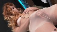 Small tan striped moth - Russian redhead masturbating in tan pantyhose