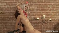 Free naked cum covered women Dominatrix covers her naked slave girl in wax