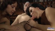 Babysitter gives grandpa blowjob - Two escort girls gives grandpas select riding