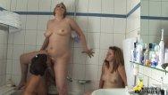 Blonde lesbians in bathroom Mature, milf and teen in bathroom