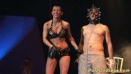 Breast needle piercing Crazy fetish needle show on stage